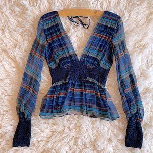 EUC MAXAZRIA collection silk crochet top
